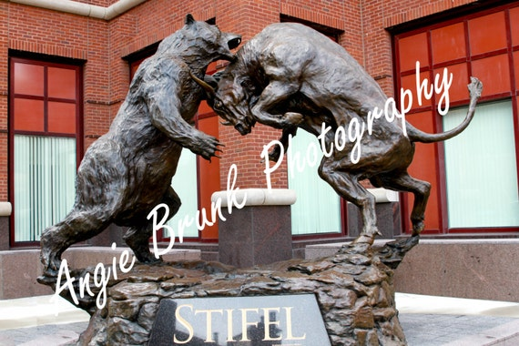Stifel Bull And Bear Statue In Downtown St By Brunkphotography
