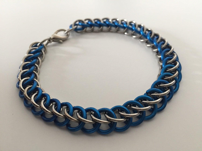 police support bracelet thin blue line by skylarkchainmaille. Black Bedroom Furniture Sets. Home Design Ideas