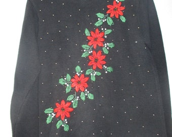 An Ugly Sweater with a touch of Class Black with sewn poinsetta and leaves accented with white and gold beads #C1