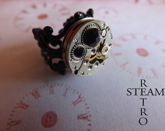 10% off sale17 Steampunk gothic black filigree Ring - Steampunk Jewelry by Steamretro -personalized jewelry