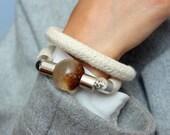 Elegant rope bracelet with transparent detail - silver plated - handcuffs - handmade - White bracelet