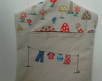 Peg bag with washing line applique free motion embroidery  made using Mushroom fabric