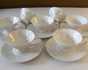 Rosenthal Gold Accord Set Of Seven Cups & Five Saucers