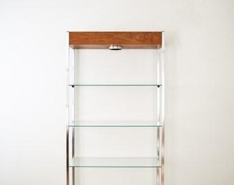Mid Century Shelving, Etagere, Mid Century Modern Glass, Metal & Wood Etagere Shelving Unit with Spotlight, Vintage