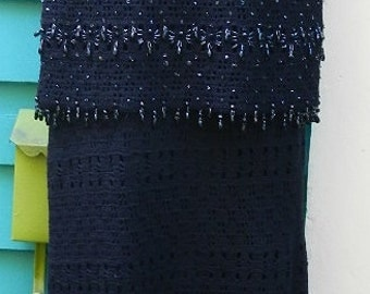Henry A La Pensee,NYC,1960s knitted and  hand beaded 2 pc evening ensemble