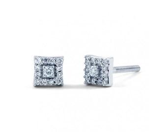 Modern Square Diamond Earrings