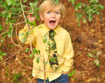 Green Camo Necktie Sizes Infant, Child, Youth