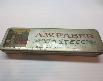 1930's A.W. Faber Castell Pencil Tin Bavaria Made Bleistift - Fabrik