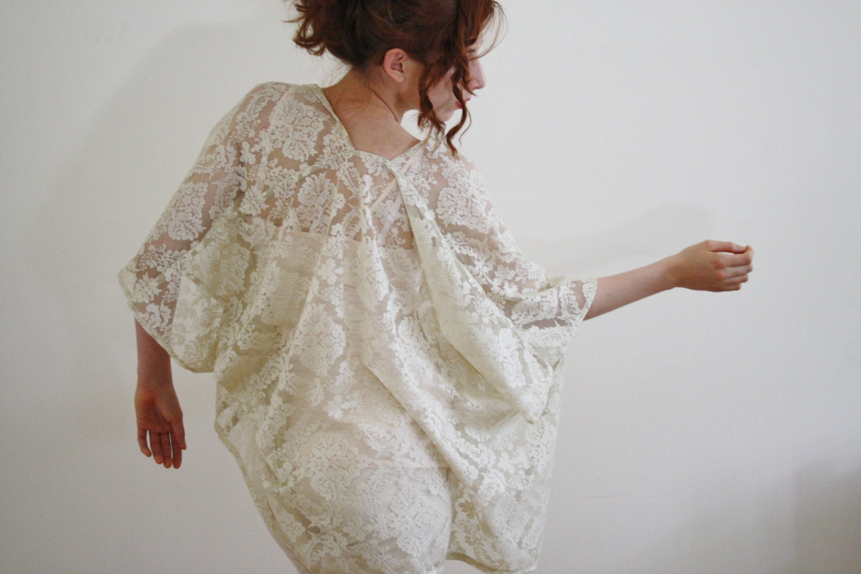 Lace bridal kimono cardigan Sheer bridal Kimono robe Kimono