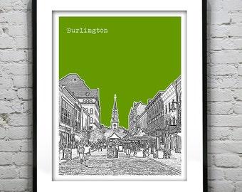 Burlington Vermont VT City Skyline Poster Print Art Church Street Version 1