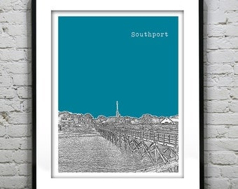 Southport North Carolina City Skyline Poster Art Print NC