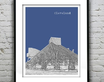 Presidents Day Sale 15% Off - Cleveland SkylinePoster Print Art Ohio OH Rock and Roll Hall of Fame Version 4