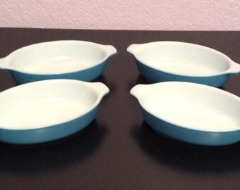 RARE and Unique Vintage Blue Horizon Pyrex Pixie Dishes SET of 4 FOUR Blue Pyrex Hard to Find