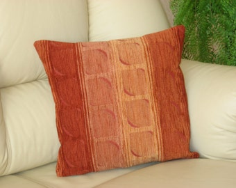 "Orange  brown decorative chenille luxury handmade throw pillow  cushion cover. 37 cm x 37 cm(15"" x 15"")"