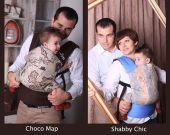 """Baby Carrier Double-sided / Ergonomic Sling / """"Shabby Chic+Choco Map"""" Nap Bag by Bagy"""
