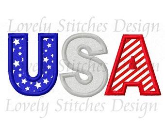 4th of July USA Applique Machine Embroidery Design NO:0321