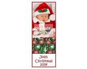 Christmas Baby Photo Bookmark - Christmas Baby Announcement - Unique Bookmarks - Laminated Bookmark - Personalized Bookmarks - Baby Keepsake