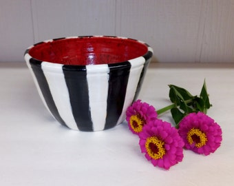 Black and White Striped Ceramic Bowl with Intense Red Inside