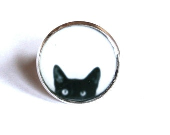 Black Cat ring, Peeking Cat ring, cat ring, cat jewelery, black cat ring, cats, black and white statement ring, peeking cat