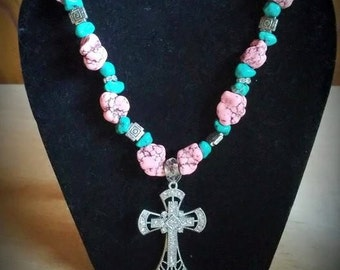 Pink and Turquoise Western Cross Necklace