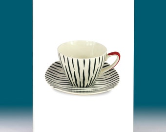 Vintage Cup & Saucer Zambesi 'Jessie Tait' Greetings Card 1950s