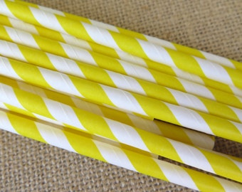 Striped Paper Straws - Bright Yellow - 25 Count - Birthdays, Weddings, Bridal Shower, Baby Shower