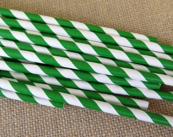 Striped Paper Straws - Grass Green and White - 25 Count - Birthdays, Weddings, Bridal Shower, Baby Shower