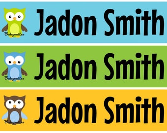 Personalized Waterproof Labels Waterproof Stickers Name Label Dishwasher Safe Daycare Label School Label - Colorful Owl Boy