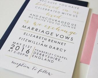 Custom Gold Foil Modern Script Wedding Invitation