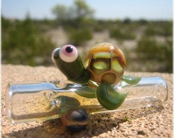 Turtle Chillum - Aquatic Carnival Glass