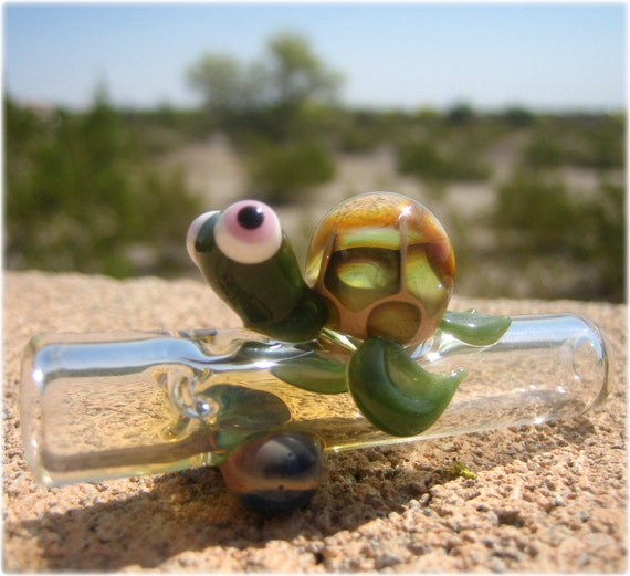 Turtle Chillum Aquatic Carnival Glass By Artistixdna On Etsy