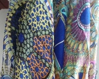 Abstract Silk scarf pink, blue and gtan colors
