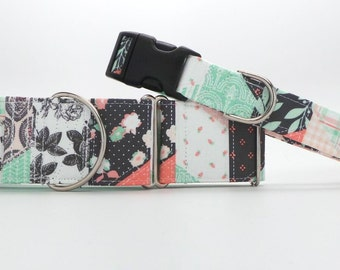 A Patchwork Mint Dog Collar (Martingale, Buckle or Tag)