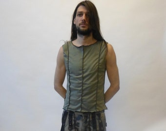 Industrial / cyber tank top / vest with overlock outside available in black or olive