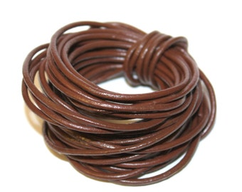 5 Metres - 2mm Chocolate Brown Leather Cord, Wrap Bracelet Cord String