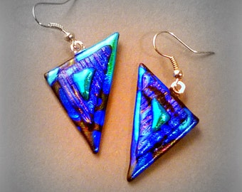 Fused Dichroic Glass Earrings Deep Blue Aqua Silver French Wire