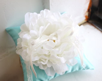 mint white big folwer wedding ring pillow(ring cushion)