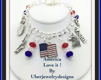 America charm Bracelet love it by Uberjewelrydesigns