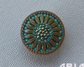 CZECH GLASS BUTTON: 18mm Handpainted Czech Glass Sunflower Button, Pendant, Cabochon (1)