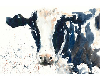 """COW paintings art PRINT gift from a watercolor painting cow artwork animal art cow wall art animal paintings wildlife art 21x29cm (8x11.5"""")"""