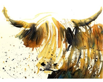 """Highland Cow art prints for sale cattle artworks paintings by british wildlife artist signed watercolour rustic artwork 21x29cm (8x11.5"""")"""