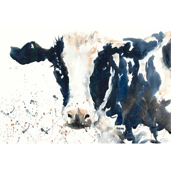 Cow paintings art print gift from a watercolor painting cow for Cow painting print