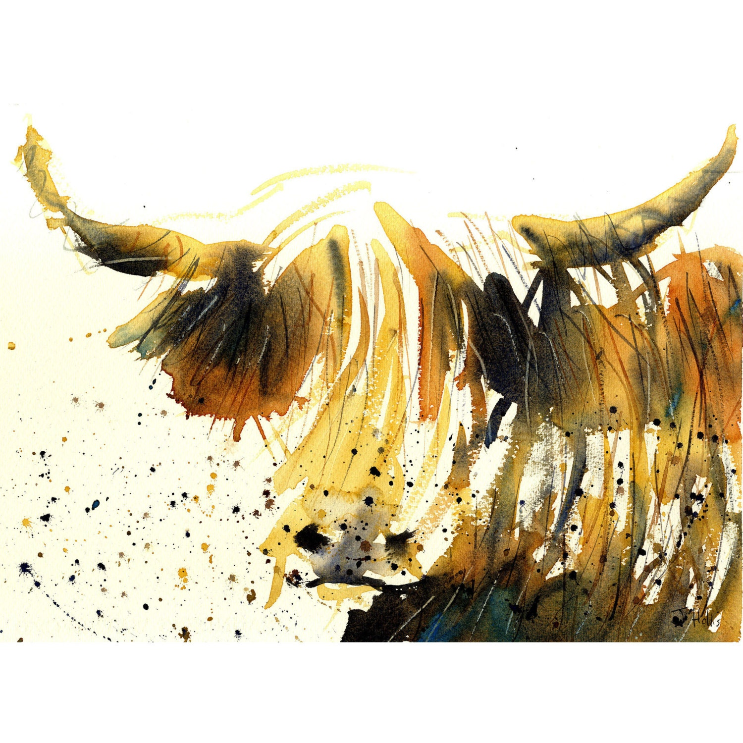 Highland cow art prints for sale cattle artworks paintings by for Art print for sale