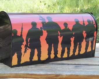 Painted and or other mixed media  Mailbox-Soldiers