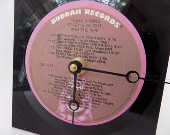 Gladys Knight and the Pips -  vintage upcycled vinyl record clock