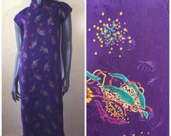 Vintage 60s dress , vintage cheongsam ,60s cheongsam dress , mandarin collar , chinese dress , purple floral ,