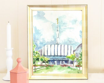 Watercolor of Old Ogden LDS Temple