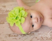 CHOOSE COLOR, Baby Headband , Newborn Headband,Lace Flower,Preemie,Baby Girl,Infant,Lime Green Headband,Baby Headbands,Wedding,Baptism, bows