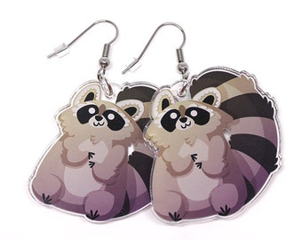 Cute Raccoon Earrings, Tanuki, Tanooki, kawaii animal, animal lover, cute charm, kawaii, cute earrings, kawaii earrings,