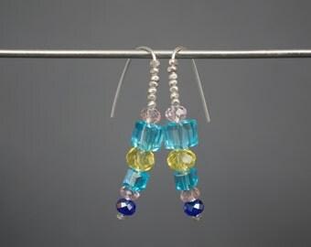 Open hoop earrings Glass earrings Beaded earrings Silver earrings Dainty earrings Pastel blue yellow pink earrings Argentium earrings Spring